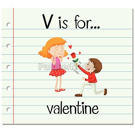 flashcard letter v is for valentine
