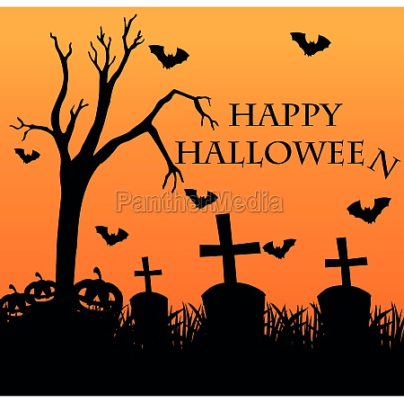 happy halloween card with graveyard in