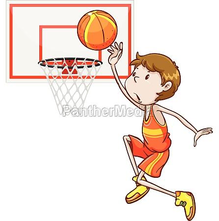 man shooting basketball in the hoop