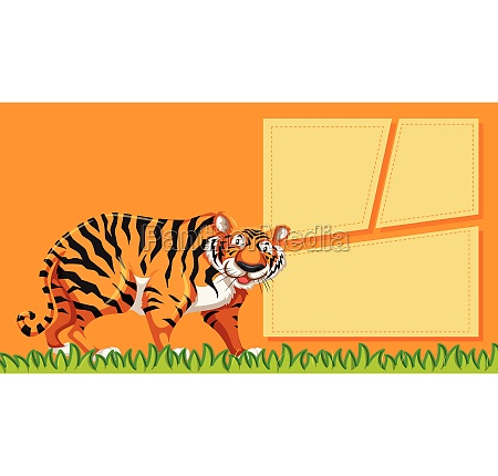 tiger on note template
