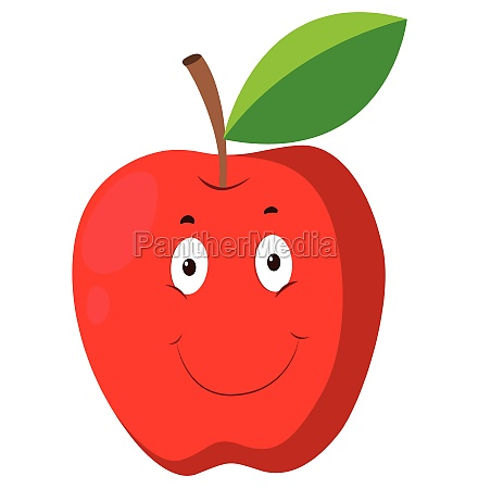 red apple with happy face