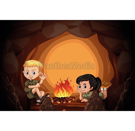 scouts are camping in the cave