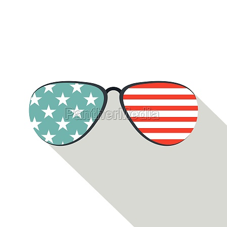 american glasses icon flat style