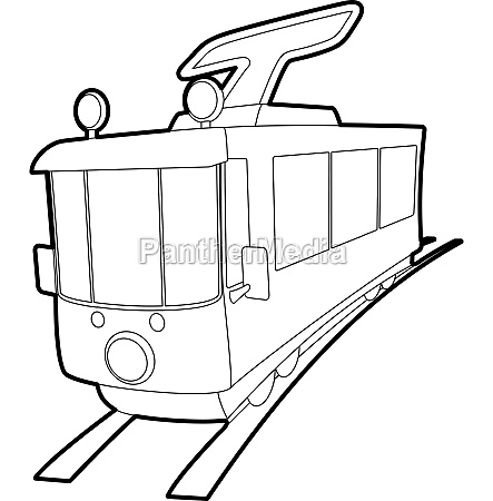 tram icon outline style