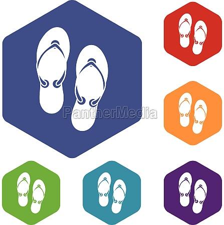 flip flop sandals icons set