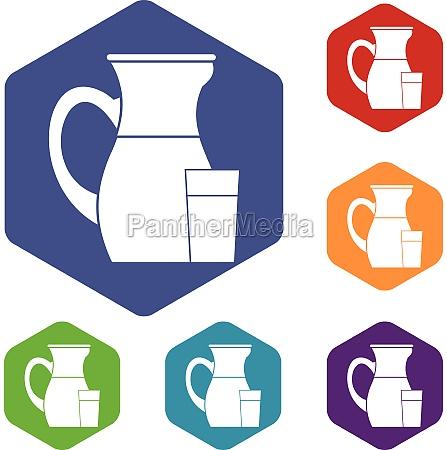 jug of milk icons set