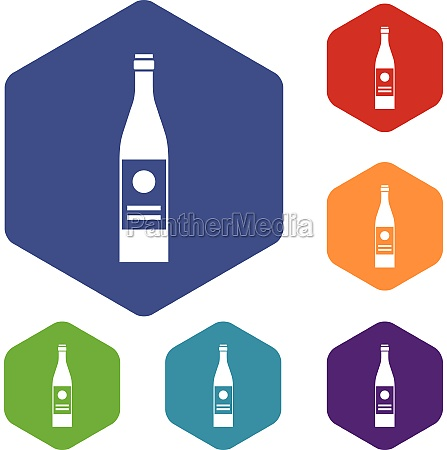 wine bottle icons set
