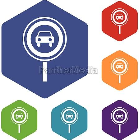 prohibiting traffic sign icons set