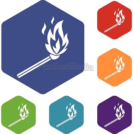 match flame icons set