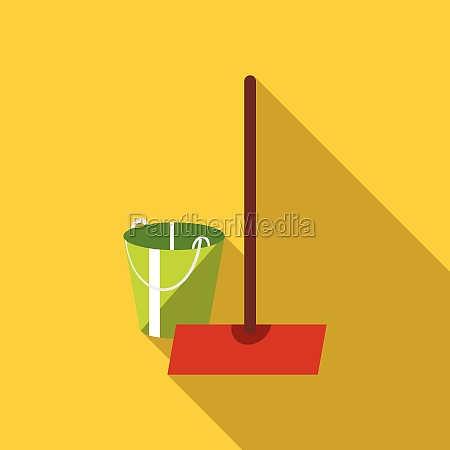 mop and bucket icon flat style