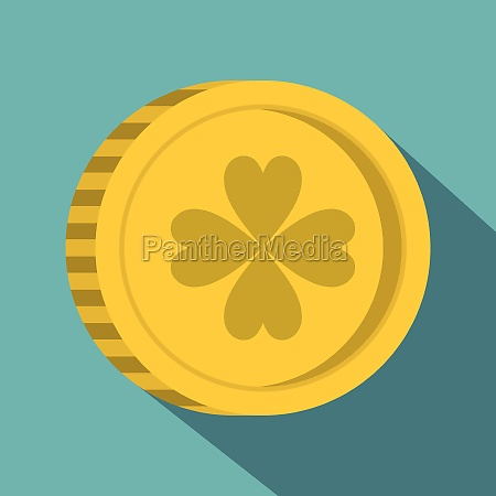 golden coin with clover sign icon