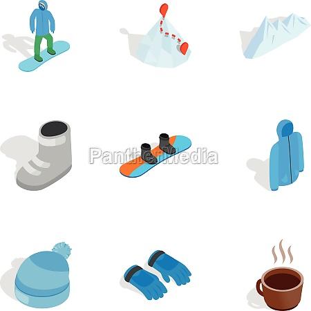 snowboarding icons set isometric 3d style