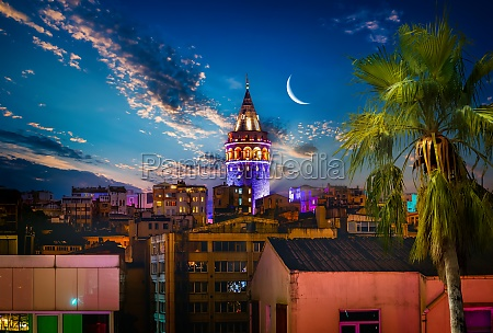 galata tower in istanbul at night