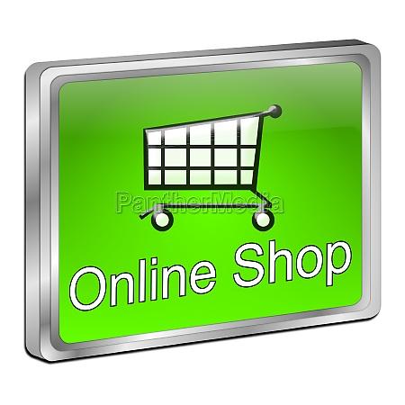 online shop button green 3d