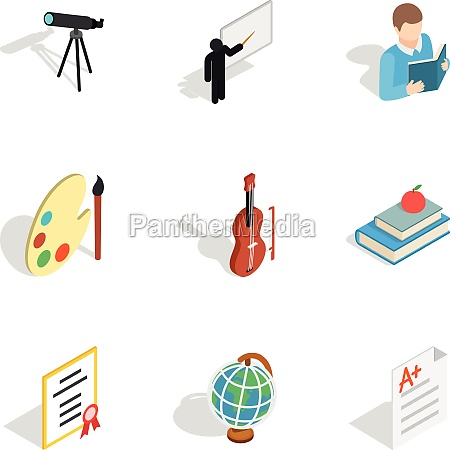 school supplies icons isometric 3d style