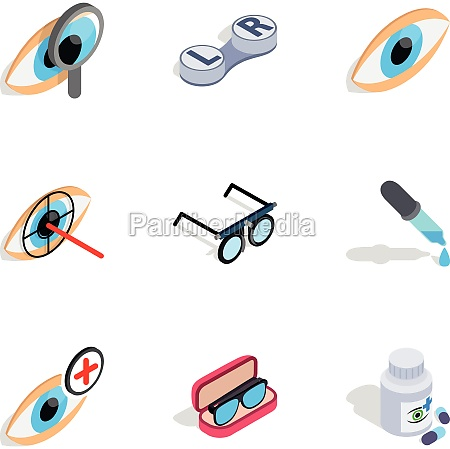 optometry icons isometric 3d style