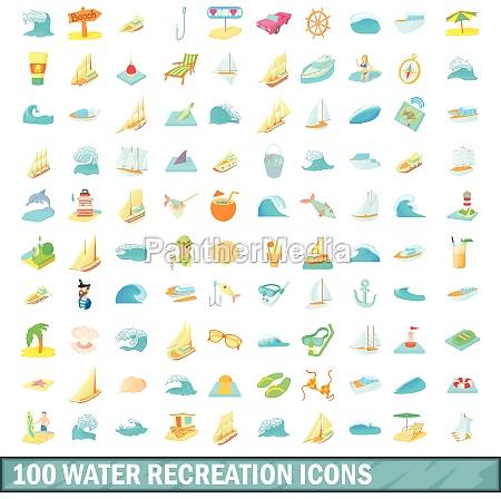 100 water recreation icons set cartoon