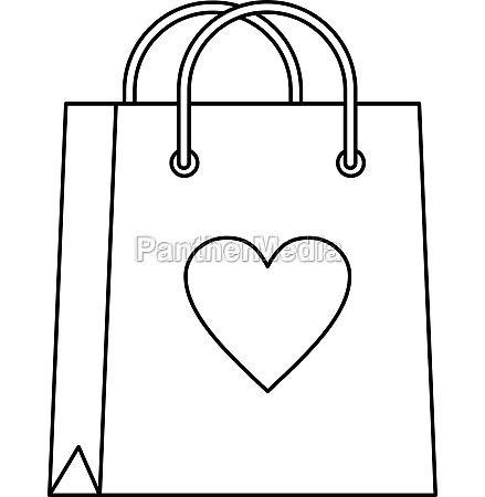 shopping bag with heart icon outline