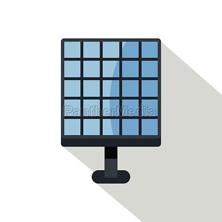electric solar panel icon flat style