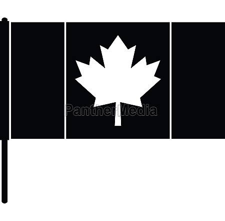 canada flag with flagpole icon simple