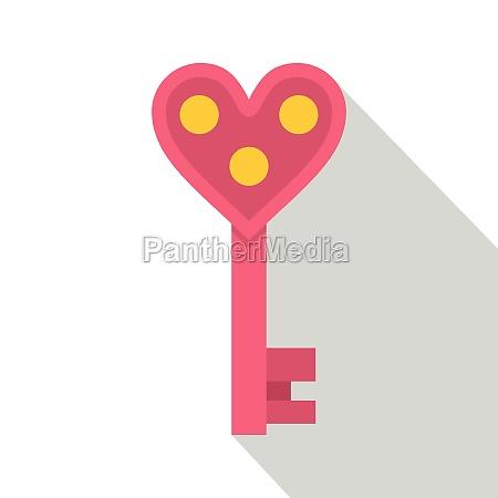 love key icon flat style