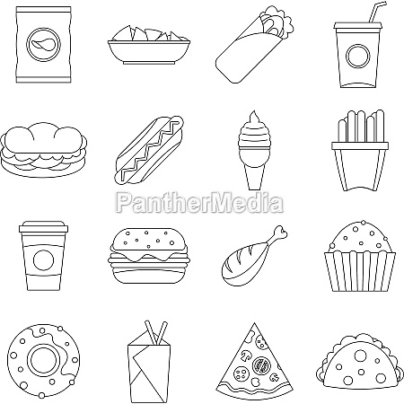 fast food icons set outline style