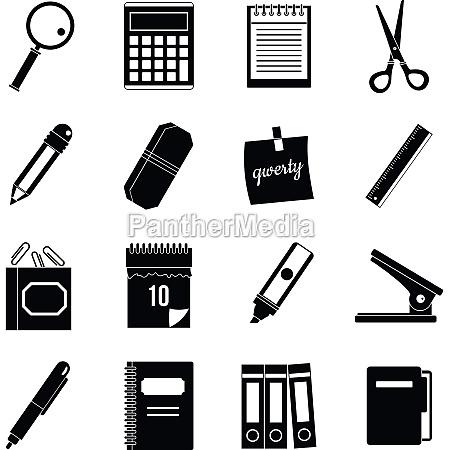 stationery symbols icons set simple style