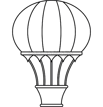 hot air balloon with basket icon