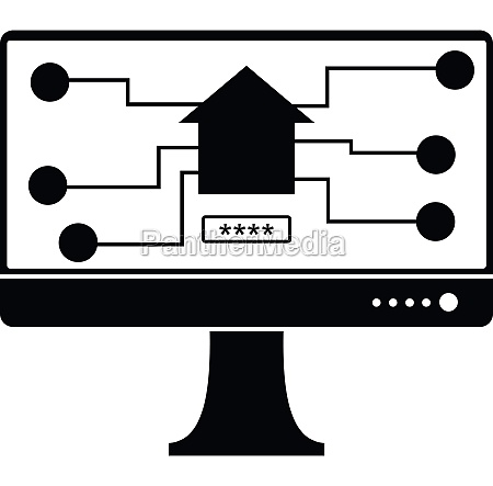 monitor chip icon simple style