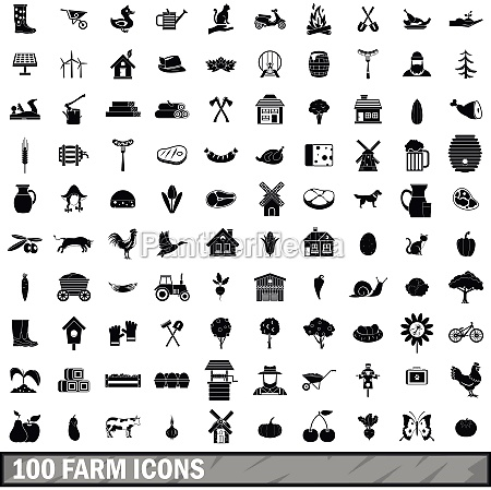 100 farm icons set in simple