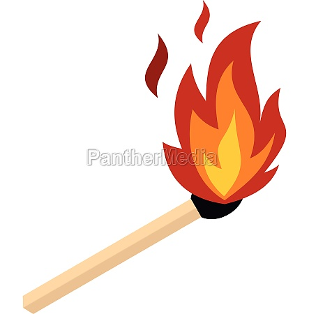 match with fire icon flat style