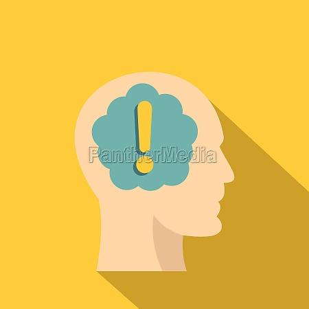 exclamation mark inside human head icon