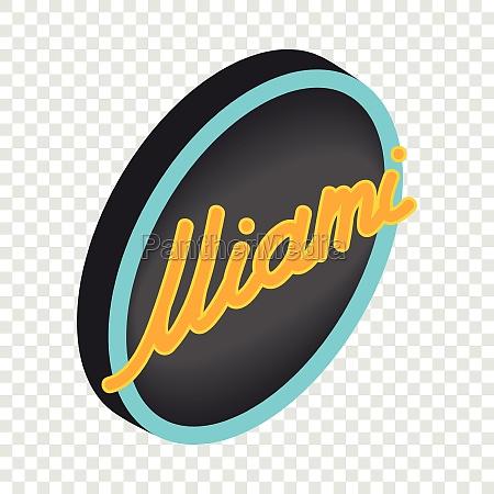 neon sign miami isometric icon
