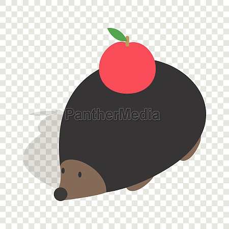hedgehog with apple isometric icon