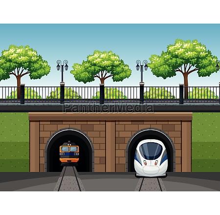 modern and classic train scene