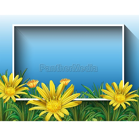 border template with flower field