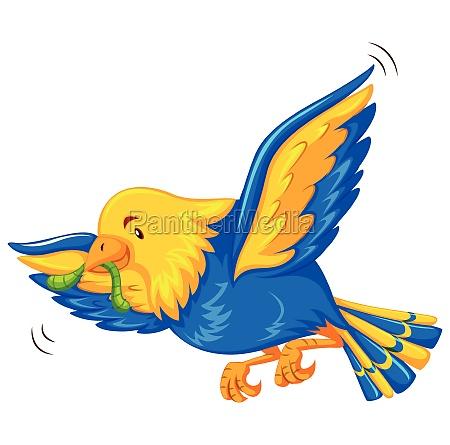 colorful bird eathing worm