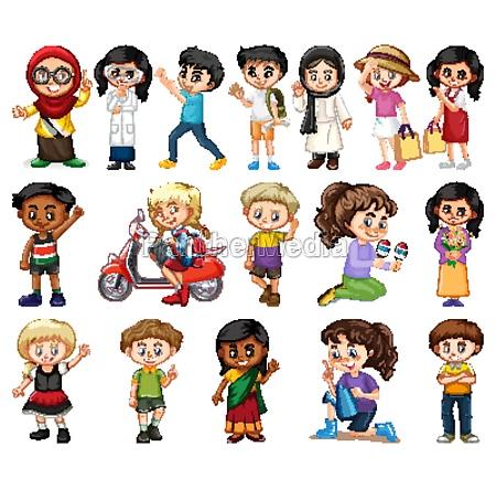 large set of boys and girls