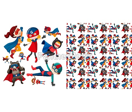 seamless background design with many superheroes