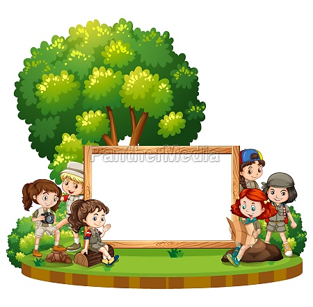 blank sign template with kids in