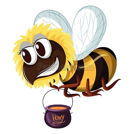 bee holding pot of honey