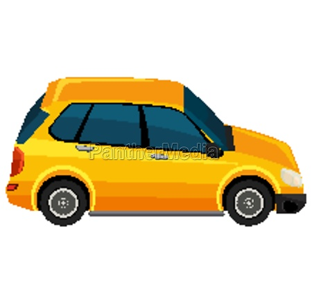 one yellow suv car on white