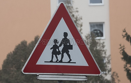attention children traffic sign on the