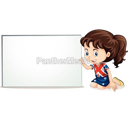 british girl and whiteboard