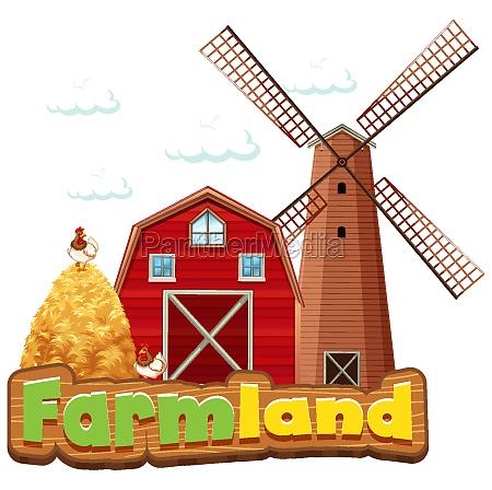 word design for farmland with barn