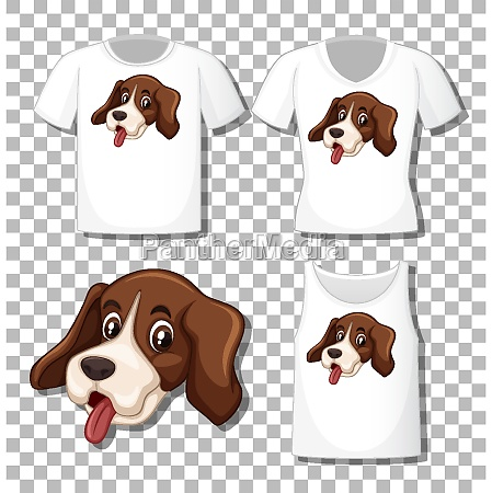 cute dog cartoon character with set