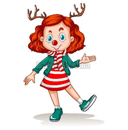 girl wearing reindeer headband and red