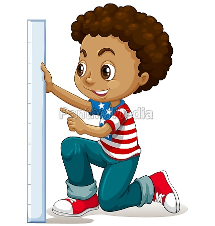 little boy measuring with ruler
