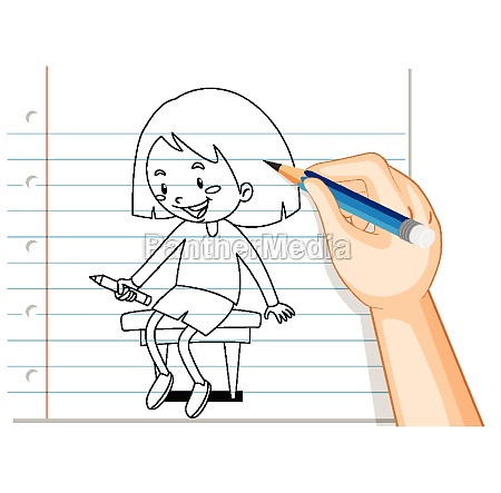 hand writing of girl sitting on