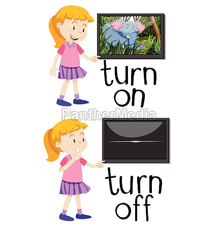 opposite words for turn on and